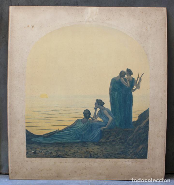 ALPHONSE OSBERT (1857 - 1939), GRABADO, MUSAS EN LA ORILLA, 1920'S, SIMBOLISMO, FIRMADO. 70X62CM (Arte - Grabados - Contemporáneos siglo XX)