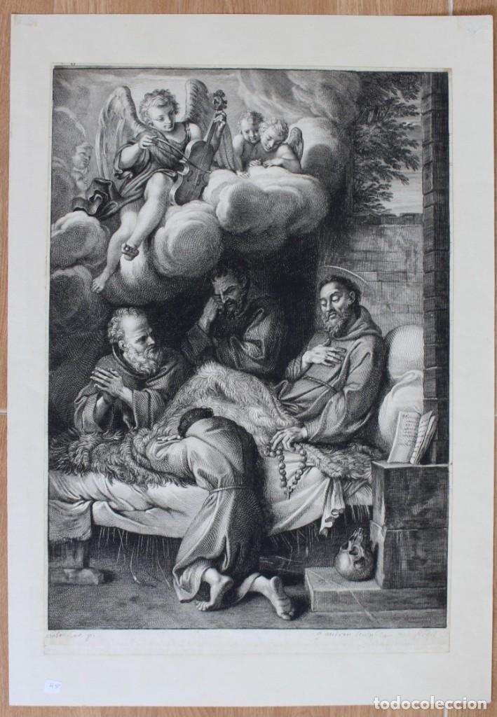HERMOSO GRABADO RELIGIOSO- POSIBLEMENTE SAN FRANCISCO- PISADA: 35 X 52 CM. (Arte - Grabados - Antiguos hasta el siglo XVIII)