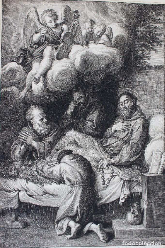 Arte: HERMOSO GRABADO RELIGIOSO- POSIBLEMENTE SAN FRANCISCO- PISADA: 35 X 52 CM. - Foto 2 - 190925558