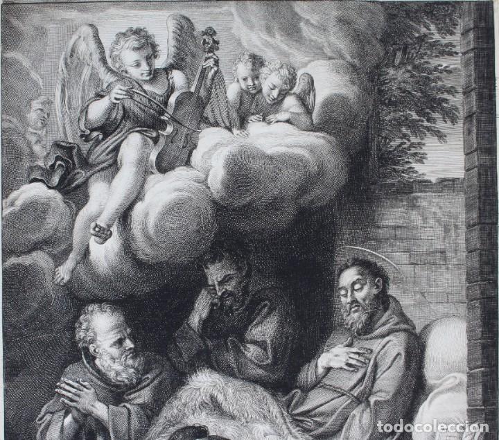 Arte: HERMOSO GRABADO RELIGIOSO- POSIBLEMENTE SAN FRANCISCO- PISADA: 35 X 52 CM. - Foto 3 - 190925558