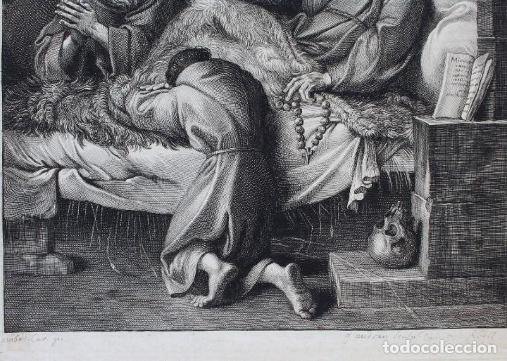 Arte: HERMOSO GRABADO RELIGIOSO- POSIBLEMENTE SAN FRANCISCO- PISADA: 35 X 52 CM. - Foto 4 - 190925558