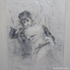 Arte: GRABADO-AGUAFUERTE DE JOSEP LLOVERA I BOFILL(REUS 1846-1896).PARIS 1878.LA PINACOTECA.. Lote 191118875