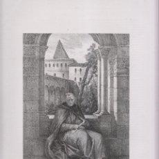 Arte: LITOGRAFÍA. EL REY WAMBA EN EL MONASTERIO DE PAMPLIEGA, BURGOS. 36,5 X 27 CM. AÑO 1871. Lote 191121161