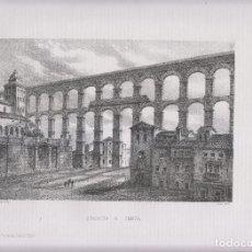Arte: LITOGRAFÍA. ACUEDUCTO DE SEGOVIA. 36,5 X 27 CM. AÑO 1871. Lote 191121652