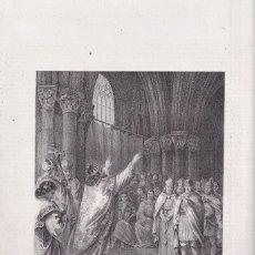 Arte: LITOGRAFÍA. RECAREDO ABRAZA EL CRISTIANISMO. 36 X 27 CM. 1871. TOLEDO. VISIGODOS. Lote 191146608