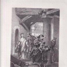 Arte: LITOGRAFÍA. RIGOS USADO CON LOS JUDÍOS EN EL REINADO DE ÉGIRA. 36,5 X 27 CM. 1871 TOLEDO GODOS. Lote 191147248