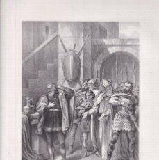 Arte: LITOGRAFÍA.ELECCIÓN DEL REY WAMBA. 36,5 X 27 CM. 1871. VALLADOLID. REYES GODOS. Lote 191150708