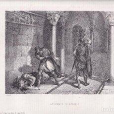 Arte: LITOGRAFÍA. ASESINATO DE ATAÚLFO. 36,5 X 27 CM. 1871. BARCINO, BARCELONA. REYES GODOS. Lote 191151133