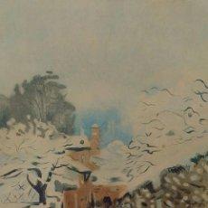 Arte: SNOW AT LOUVECIENNES. GRABADO A COLOR. FIRMADO SISLEY. FRANCIA. SIGLO XIX. Lote 191152070