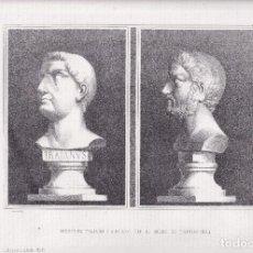 Arte: LITOGRAFÍA. BUSTOS DE TRAJANO Y ADRIANO EN EL MUSEO DE TARRAGONA. 36,5 X 27 CM. 1871. Lote 191156282