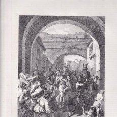Arte: LITOGRAFÍA. CASTIGO DEL DUQUE ARGIMUNDO. 36,5 X 27 CM. 1871. TOLEDO. REYES GODOS. Lote 191156710