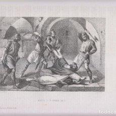 Arte: LITOGRAFÍA. MARTIRIO DE SAN HERMENEGILDO. 36,5 X 27 CM. 1871. TARRAGONA. REYES GODOS. Lote 191221481