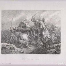 Arte: LITOGRAFÍA. MUERTE DEL REY DON RODRIGO. 36,5 X 27 CM. 1871.. Lote 191222462