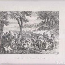 Arte: LITOGRAFÍA. VUELTA DE LOS ESPAÑOLES DE SU EMIGRACIÓN POR LA SEQUÍA. 36,5 X 27 CM. 1871. Lote 191222755