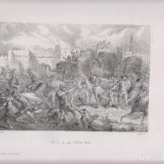 Arte: LITOGRAFÍA. SALIDA DE LOS NUMANTINOS. 36,5 X 27 CM. 1871. NUMANCIA. SORIA. Lote 191223585