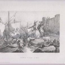 Arte: LITOGRAFÍA. DESEMBARCO DE SISEBUTO EN TÁNGER. 36,5 X 27 CM. 1871.. Lote 191224446