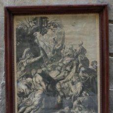Arte: JESÚS CARGANDO LA CRUZ POR PEDRO PABLO RUBENS, GRABADO POR CAMPION EN PARIS, SIGLO XVIII, CON MARCO.. Lote 191458987