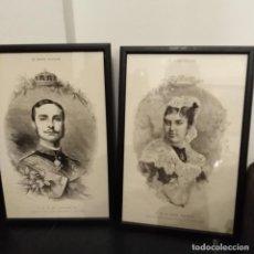 Arte: ANTIGUOS GRABADOS DEL REY ALFONSO XII Y MARIA DE LAS MERCEDES , DE LA REVISTA LE MONDE ILUSTRE.. Lote 191543722