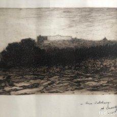 Arte: ANTIGUO GRABADO VISTA DE MADRID POR AGUSTIN LHARDY. FIRMADO. 64 X 45 CM. . Lote 191620815