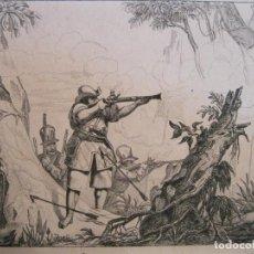 Arte: SOLDADOS LUCHANDO CONTRA GUERREROS BOTOCUDOS (BRASIL),HACIA 1850. DEBRET/ MONTAUT. Lote 191645823