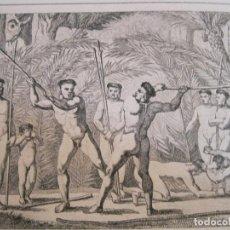Arte: COMBATE RITUAL ENTRE NATIVOS BOTOCUDOS, (BRASIL), HACIA 1850. VANDER BURK/MONTAUT. Lote 191646163