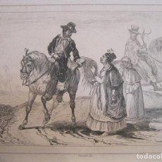 Arte: PAREJA DE NATIVOS GUARANÍES CIVILIZADOS (BRASIL), HACIA 1850. LALAISE/ CHAILLOT. Lote 191653255