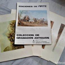 Arte: COLECCIÓN DE 4 LÁMINAS DE GRABADOS ANTIGUOS EDICIONES DE ARTE - 44 X 33.CM. Lote 191905808