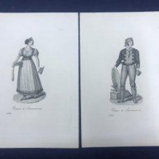 Arte: GRABADOS. PAREJA DE VENTEROS SIERRA MORENA. RIVELLES CALCOGRAFÍA NACIONAL 1836. PERFECTO ESTADO.. Lote 191914851
