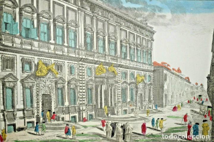 GRABADO DE LA VISTA DEL PALACIO DEL QUIRINAL EN ROMA. VISTA ÓPTICA DEL SIGLO XVIII (Arte - Grabados - Antiguos hasta el siglo XVIII)