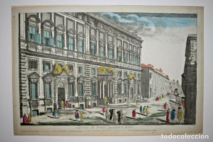 Arte: Grabado de la Vista del Palacio del Quirinal en Roma. Vista óptica del siglo XVIII - Foto 2 - 192804052