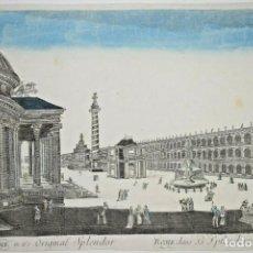 Arte: GRABADO DE ROMA EN SU ESPLENDOR ORIGINAL. VISTA ÓPTICA DEL SIGLO XVIII. Lote 192804303