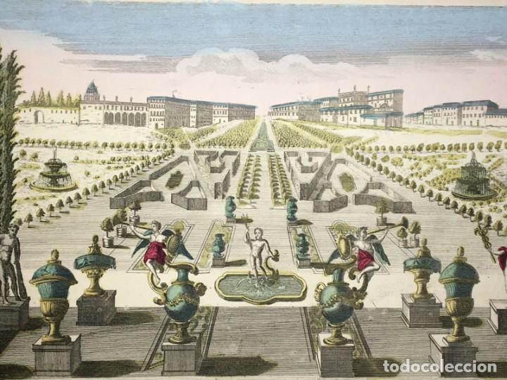 GRABADO DE LA VISTA Y PERSPECTIVA DEL PALACIO DUCAL Y EL JARDÍN DE VENECIA. SIGLO XVIII (Arte - Grabados - Antiguos hasta el siglo XVIII)