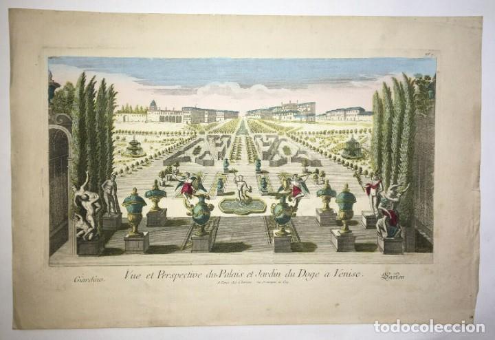 Arte: Grabado de la Vista y Perspectiva del Palacio Ducal y el Jardín de Venecia. Siglo XVIII - Foto 2 - 192804602