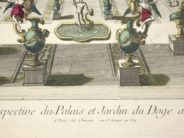 Arte: Grabado de la Vista y Perspectiva del Palacio Ducal y el Jardín de Venecia. Siglo XVIII - Foto 3 - 192804602