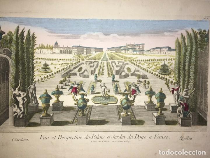 Arte: Grabado de la Vista y Perspectiva del Palacio Ducal y el Jardín de Venecia. Siglo XVIII - Foto 4 - 192804602