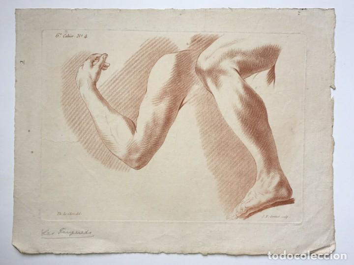 GRABADO DE UN ESTUDIO DE LOS BRAZOS. FRANCIA. SIGLO XVIII (Arte - Grabados - Antiguos hasta el siglo XVIII)