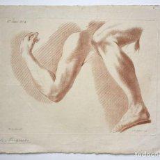 Arte: GRABADO DE UN ESTUDIO DE LOS BRAZOS. FRANCIA. SIGLO XVIII. Lote 192805386