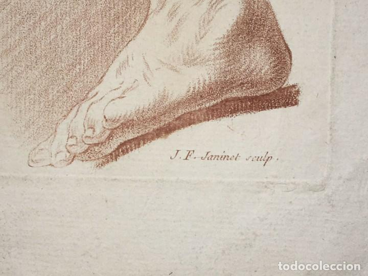 Arte: Grabado de un estudio de los Brazos. Francia. Siglo XVIII - Foto 3 - 192805386