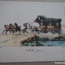 Arte: GRABADO VICTOR J. ADAM CARRUAJE MALLE POSTE 18 X 21 CM. Lote 192870743