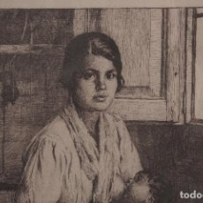 Arte: RAMÓN BORRELL PLA - AGUAFUERTE - GITANA AMAMANTANDO. Lote 192914568