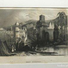Arte: LA CIUDAD DE HARIDWAR Y EL RÍO GANGES (INDIA, ASIA), 1859. B. METHROTH/MEYER. Lote 192966956