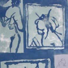 Arte: WERNER BERGES, GRABADO, FIGURAS PRIMITIVAS, TIRAJE 1/36, FIRMADO. 93X63CM. Lote 193075128