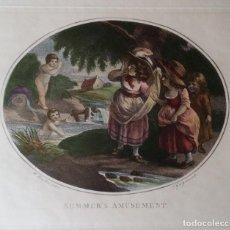 Arte: THOMAS GAUGUIN, GRABADO SOBRE UNA PINTURA DE WILLIAM HAMILTON, COLOREADO. Lote 193345508