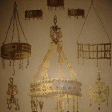 Arte: GRABADO CORONAS Y CRUCES VISIGODAS DE GUARRAZAR, TOLEDO, ORIGINAL, 1879, BARCELONA, MAGIN PUJADAS.. Lote 193623427