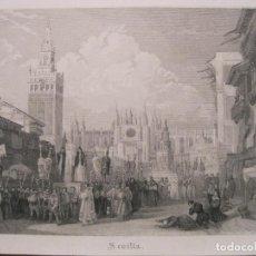 Arte: VISTA DE UNA PROCESIÓN EN LA CIUDAD DE SEVILLA (ANDALUCÍA, ESPAÑA). 1835. A.W.. Lote 193652026