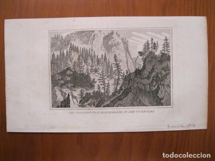 Arte: Vista de Roncesvalles (Pirineos, Navarra, España), 1836. Anónimo - Foto 2 - 193659327