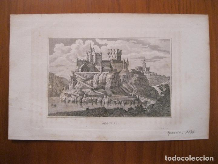 Arte: Vista panorámica de El Alcázar de Segovia ( Castilla, España), 1836 - Foto 2 - 193660747