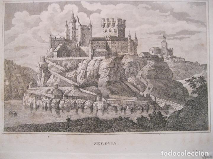 VISTA PANORÁMICA DE EL ALCÁZAR DE SEGOVIA ( CASTILLA, ESPAÑA), 1836 (Arte - Grabados - Modernos siglo XIX)