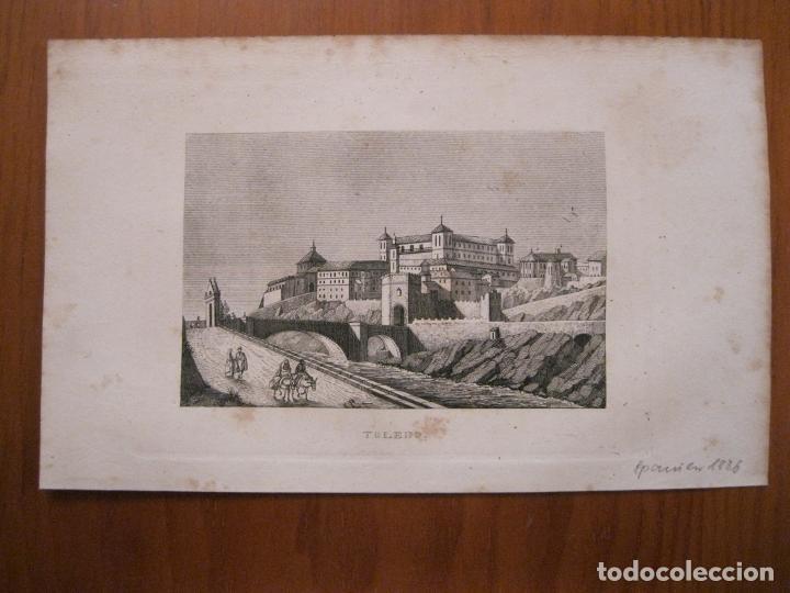 Arte: Vista panorámica de la ciudad de Toledo (Castilla, España), 1836. Anónimo - Foto 2 - 193661017