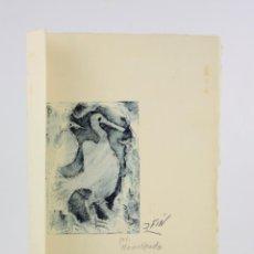 Arte: JOSÉ VILATÓ, PSEUDÓNIMO J. FIN, PÁJARO, 1969, GRABADO, MONOTIPO, EJEMPLAR ÚNICO, CON DEDICATORIA.. Lote 193684321